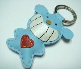 Smilely Bear Leather Keychain ( Light Blue )