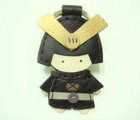 Eiji the Samurai leather charm ( Black )