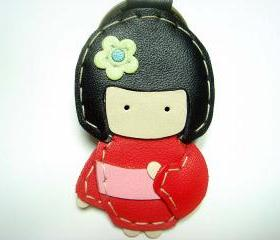 Sakura the Geisha Doll leather keychain ( Red )