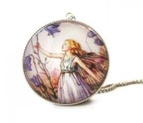 Silver Glass Round Purple Harebell Flower Fairy Necklace