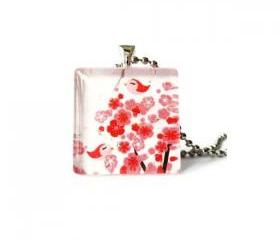 1 Inch Birds on Sakura Red Cherry Blossom Glass Tile Pendant