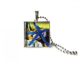 Blue Starfish Glass Tile Pendant Silver Necklace Underwater Life Keychain