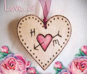 Personalized wood HEART - couples initials ... Heart-on-a-Card - wedding, anniversary, love token...