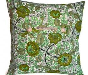 Vintage 1960s Burgess Ledward Frome green cotton cushion cover with button fastening 40cm