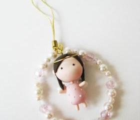 Mantou Angel Keychain Clay ( Pink )