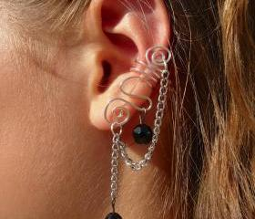 Ear Cuff with Chain and Black Bead Accents