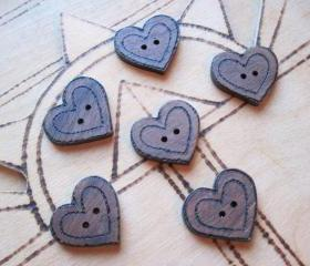 6 Wood Heart Buttons - handcrafted pyrographed walnut delights - hand cut with Love
