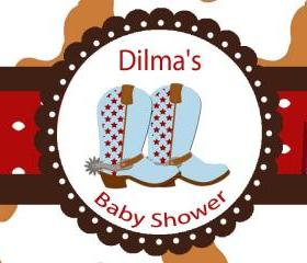 Water Bottle Label DIY -Cowboy Baby Shower Labels SET of 20