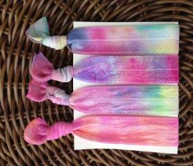 4 Bright Tie Dye Elastic Hair Ties (and bracelets)