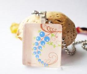 Blue Berries Square Scrabble Glass Tile Pendant