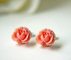 Sale. Petite Pink Rose Post Earrings. Children's Earrings