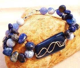  Blue Agate / Lapis Lazuli Chunky Bracelet Handmade Jewelry