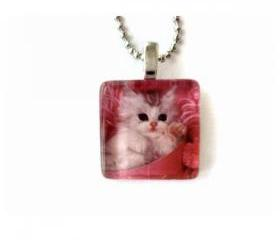 Sweet Pink Cat Kitten Glass Tile Teens