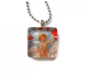Gifts Angelic Cupid Delivering Love Message Glass Tile Pendant Romance