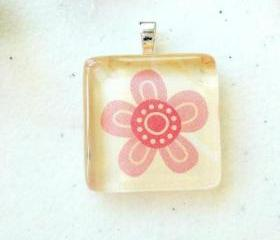 Sweet Pink Flower Square Glass Tile Pendant 7/8 inch