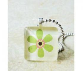 Handmade Jewelry Green Flower Glass Tile Pendant 7/8 inch Square