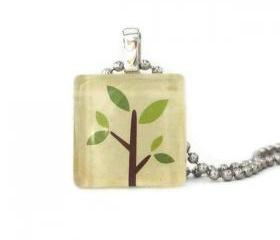 Cute Tree Pendant Square Glass Tile 20mm