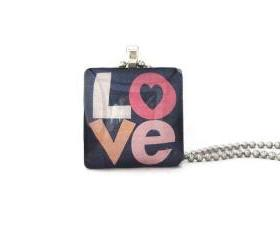 Funky Simple LOVE letters word Square Glass Tile Pendant