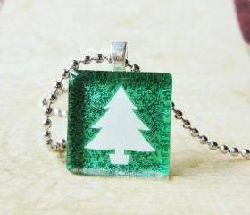 Glitter Green Christmas Tree Dainty Glass Tile Pendant
