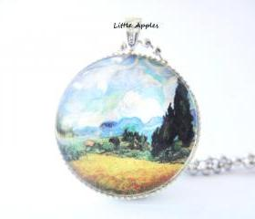 Van Gogh Wheat Field with Cypresses Painting Round Glass Pendant