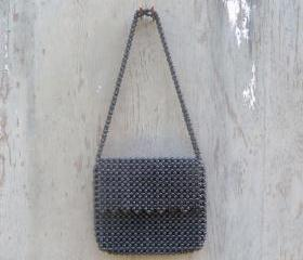 1970s Black Beaded Shoulder Bag