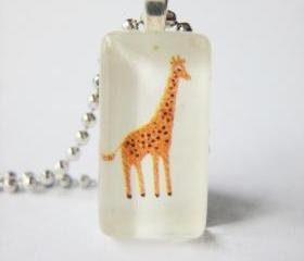 Orange Giraffe Toy Box Domino Glass Tile Pendant