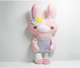 Little Pink Rabbit - doll pattern, felt doll, PDF