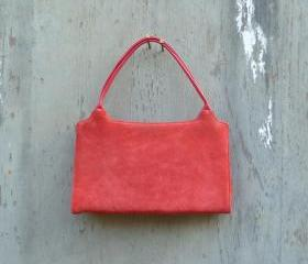 Vintage 1970s Red Suede and leather Handbag.