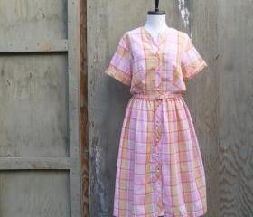 1970s Plaid Shirt Dress in Pinks