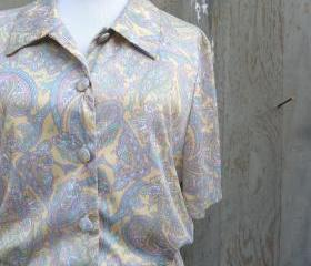 1960s Paisley Shirt Dress