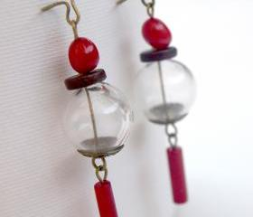 Asian Hand Blown Glass Earrings-Red Coral Earrings
