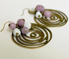 Brass Filigree Spiral with Cluster Glass Boho Chic Dangle Earrings