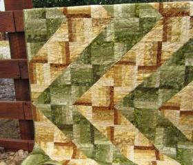Handmade Quilt Green to Gold