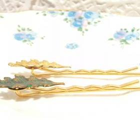 Small Leaf Bobby Pin Set - Woodland