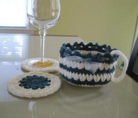 Crochet Cup-shaped Basket - Natural/teal heather (CCB2)