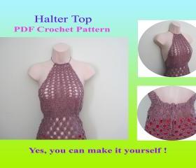 Crochet Pattern - Halter Top (15VC2012) - Perfect for Warm-weather Wear