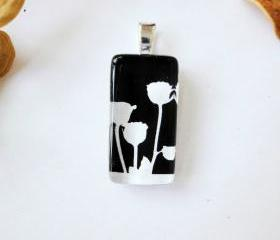 Three Black White Roses Domino Glass Tile Pendant