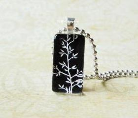 Leaves Small Domino Rectangle Glass Tile Pendant Nature Silhouette