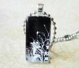 Handmade Gift Wild Flowers Black White Rectangle Glass Pendant