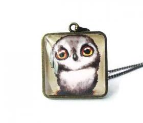 Super Adorable Brown White Wise Owl Square Glass Antique Brass Necklace