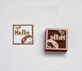 Hand Carved Rubber Stamp / Hello