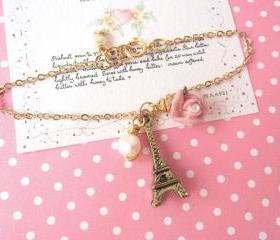 Amour Pour Eiffel Bracelet - 14K Gold-filled, Mini 3D Eiffel Tower
