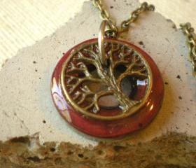 Tree of Life Necklace: Deep Red and Brass