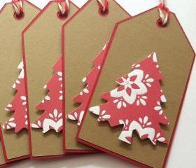 Christmas Gift Tags - Kraft Christmas Tree Gift Tags - Set of 6