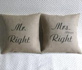 Mr Right & Mrs Always Right Set of Two Pillow Covers 