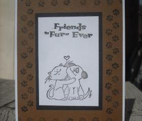   SALE   Handmade Friends Fur Ever card, Handmade Friends Forever greeting card