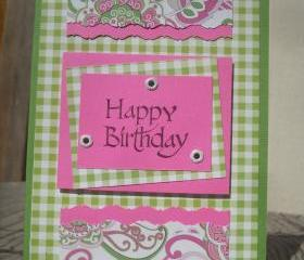 ➽ ➽ SALE ➽ ➽ Handmade Pink & Green Happy Birthday greeting card