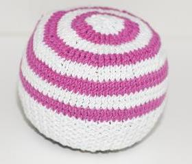 Striped Bright Pink and White hat for newborn UNISEX
