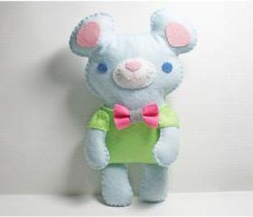 Little Blue Mouse - doll pattern, felt doll, PDF