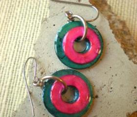 Washer Earrings: Bright Blue and Pink